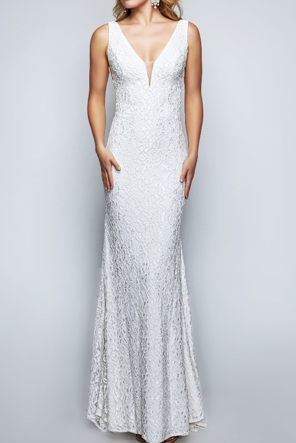 Nina Canacci Ivory Lace Fitted Dress Bridal Gown