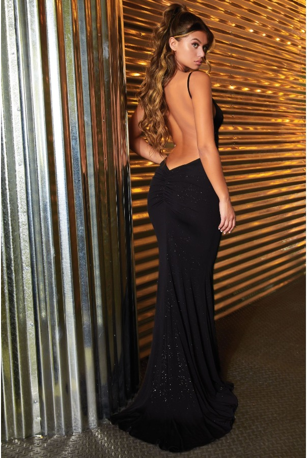 Abyss by Abby Roxanne Sparkly Black Sexy Open Back Gown