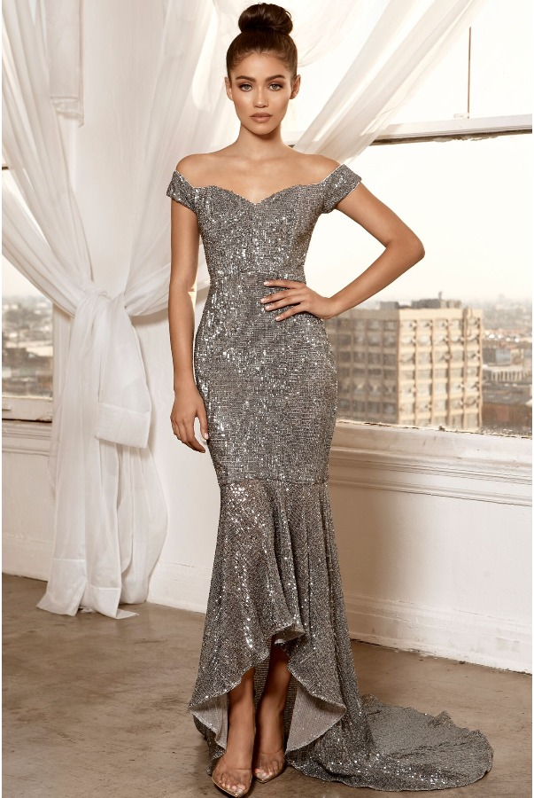 Abyss by Abby Shiloh Silver Sequin High Low Midi Dress Gown