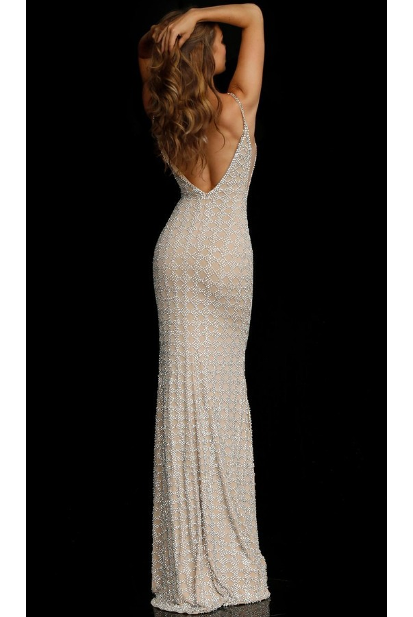 Jovani 60409 Nude Silver Beaded Fitted Evening Gown