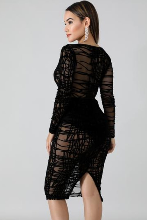 The Frock Shop Off the Shoulder Long Sleeve Sheer Black Dress
