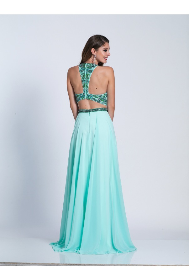 Dave and Johnny Two Piece Aqua Beaded Long Prom Gown Open Back