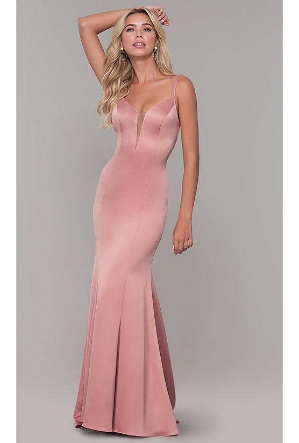 Dave and Johnny Long Mauve Pink Prom Dress with Caged Open Back