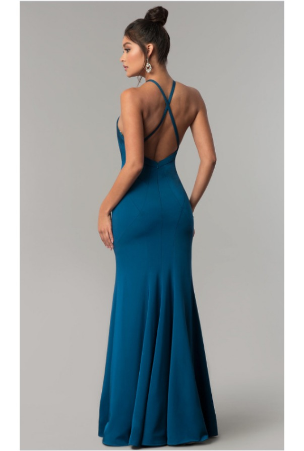 Dave and Johnny Long Racer-Front Mermaid Gown Teal