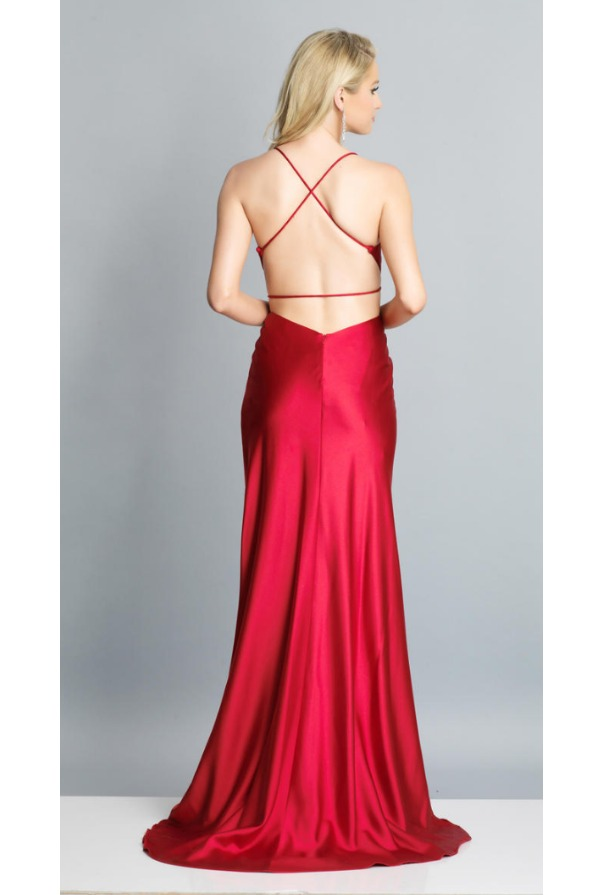 Dave and Johnny Red High Slit Open Back Prom Formal Gown