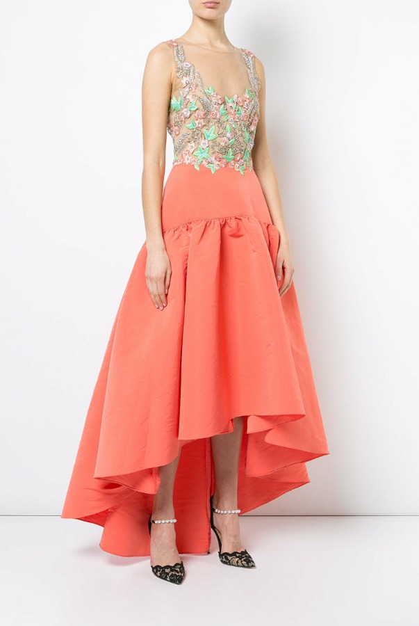 Marchesa Notte Embroidered Faille High Low Dress Gown Coral Green