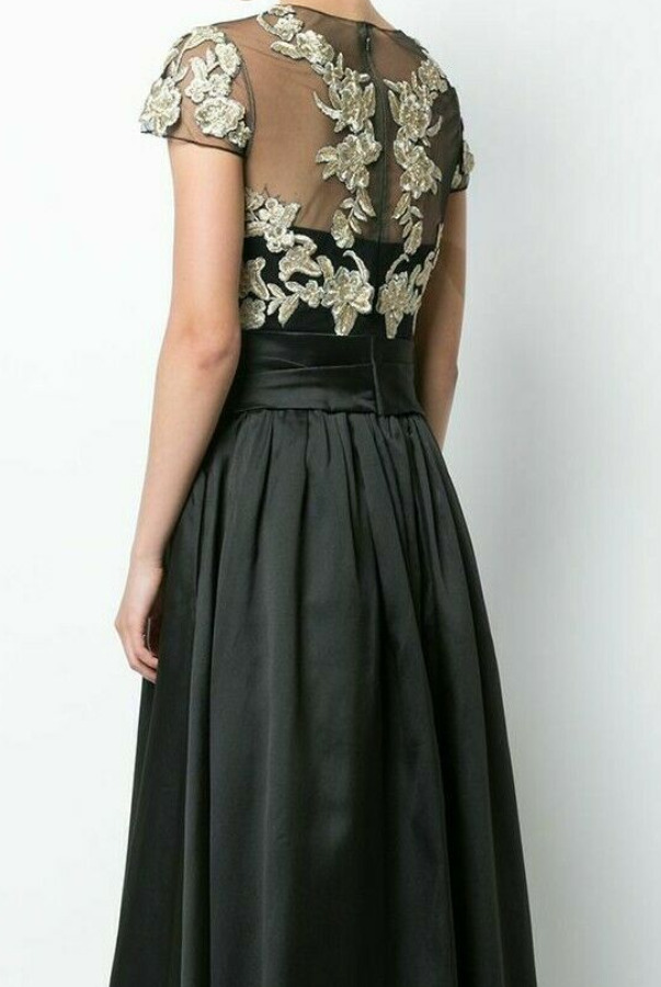 Marchesa Cap Sleeve Embroidered Black Beaded Gold Dress