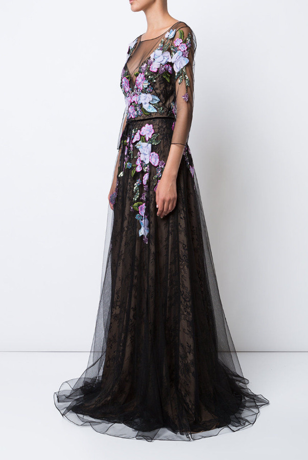 Marchesa 3D Floral Embroidered Lace Gown Black Pink Dress