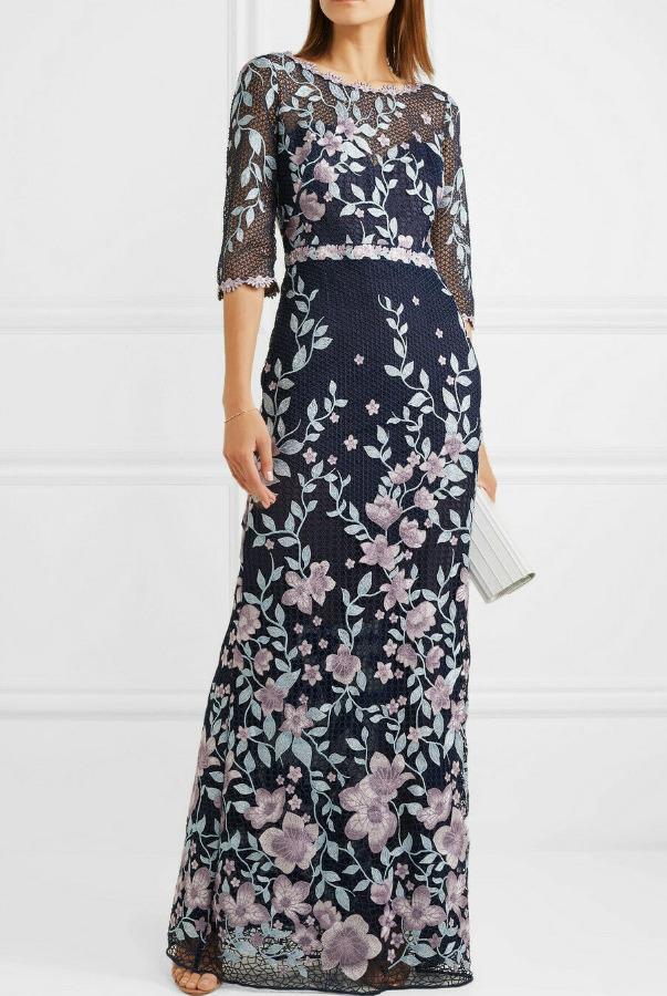 Marchesa Embroidered Guipure Lace Gown Navy Lilac Dress