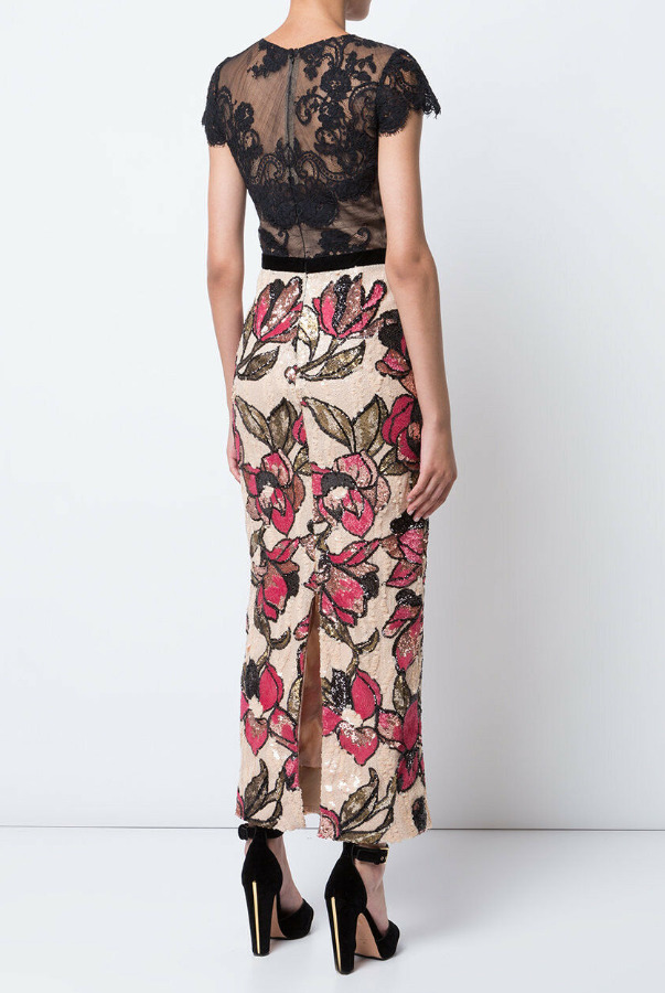 Marchesa Sequined Lace Column Gown MIDI Dress Black Nude