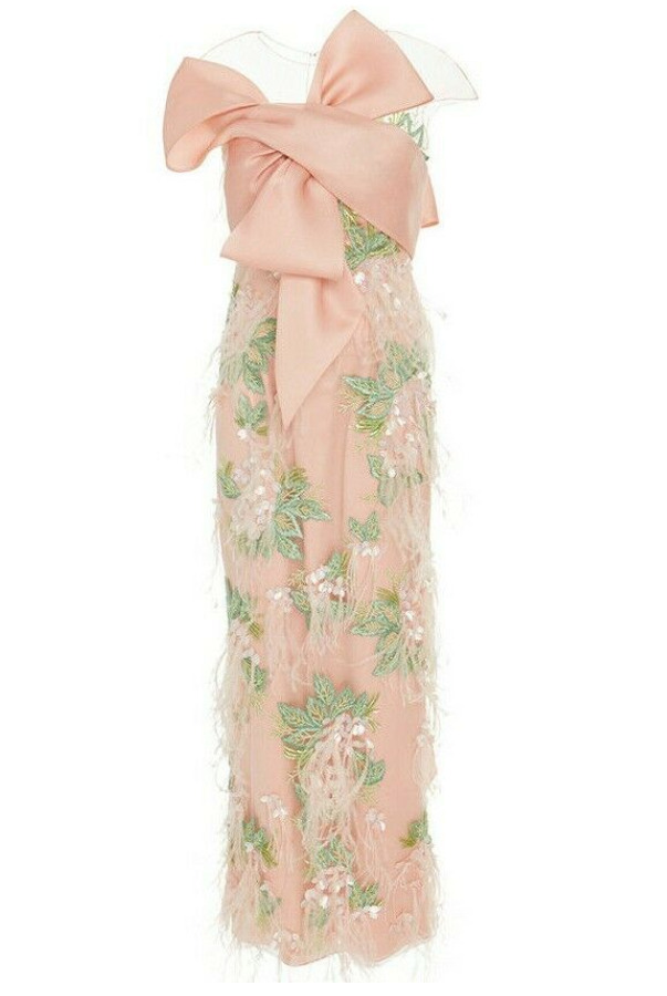Marchesa Ostrich Feathers Embroidered Blush Dress