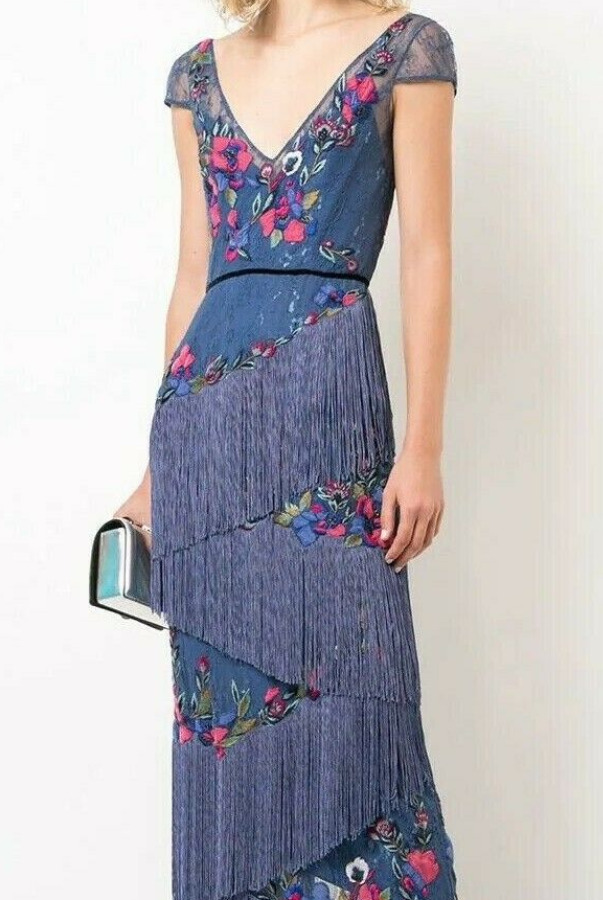 Marchesa Cap Sleeve Fringe Gown Dress Blue Embroider Lace