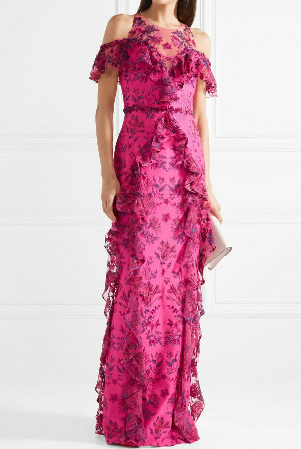 Marchesa Cold Shoulder Ruffled Embroidered Neoprene Gown