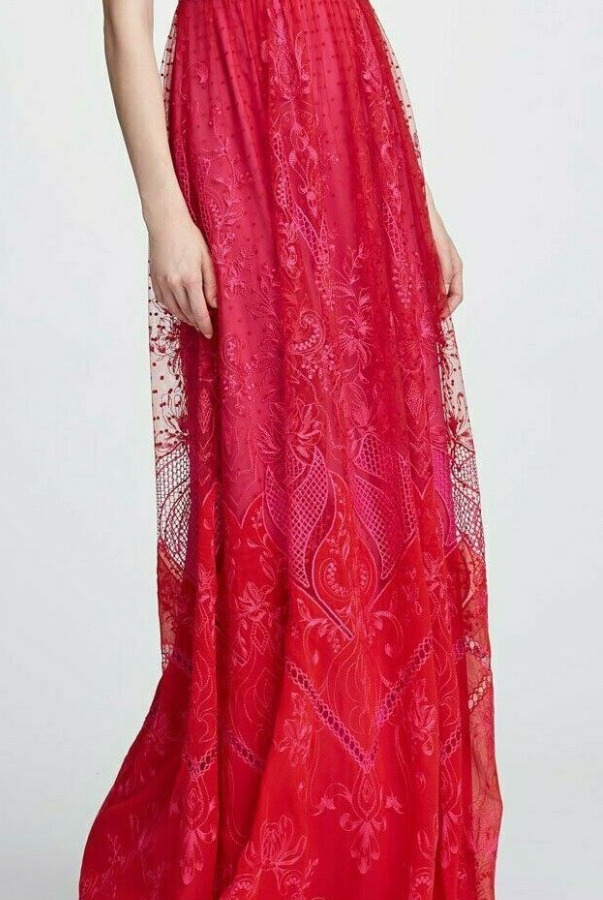 Marchesa Short Sleeve Lace Gown Red Embroidered Flower