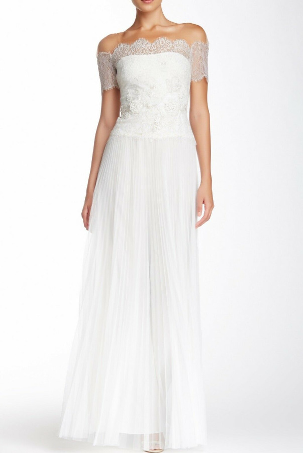 Marchesa Notte Metallic Silver Gold Lace Tulle IVORY Gown Wedding
