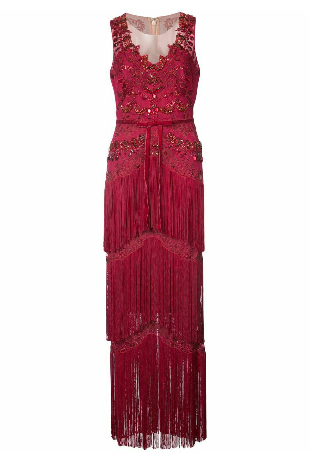 Marchesa Embellished Fringed Maxi Dress Gown Red CRYSTALS