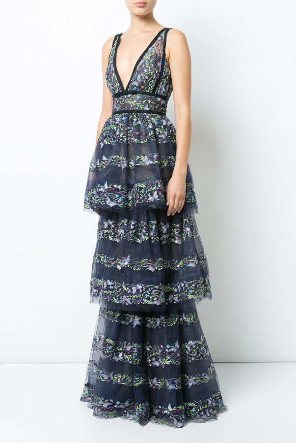 Marchesa Notte Butterfly Embroidery Layered Gown Dress Navy Blue