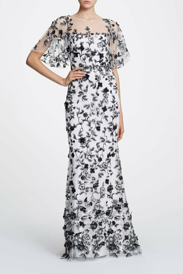 Marchesa Cap Sleeve Embroidered 3D Tulle White Black Dress