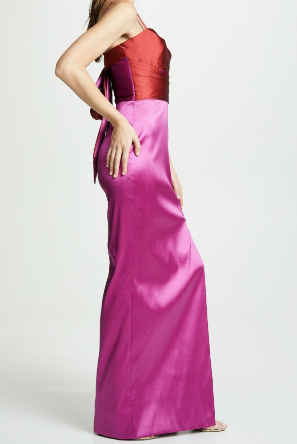 Marchesa Notte Sleeveless Mikado Gown Fuchsia Pink Red Dress Bow