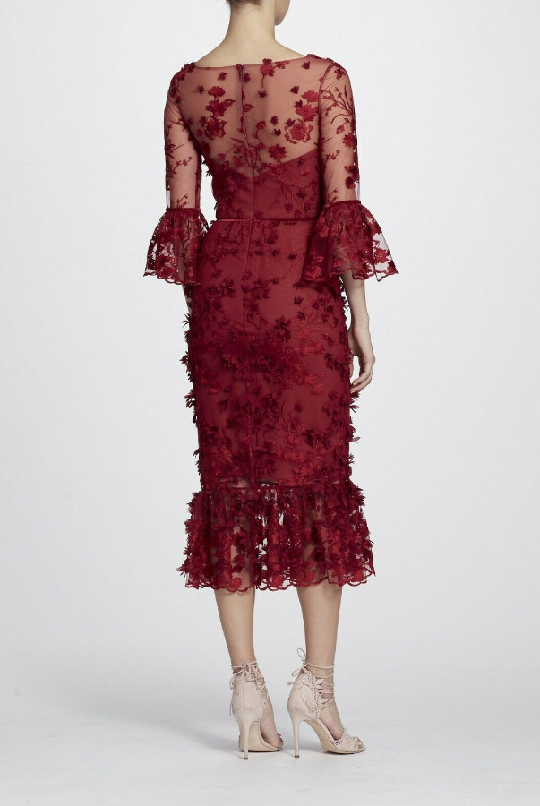 Marchesa Notte Embroidered MIDI Dress Burgundy Red 3D Flower Lace