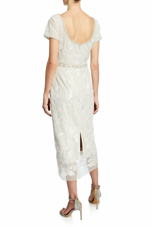 Marchesa Embellished Shift Dress Ivory Beaded Gold Wedding