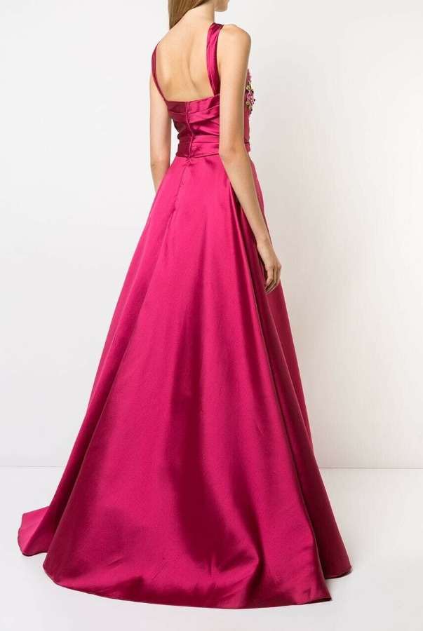 Marchesa Notte 3D Flower Embroidered Mikado Gown Fuchsia Pink