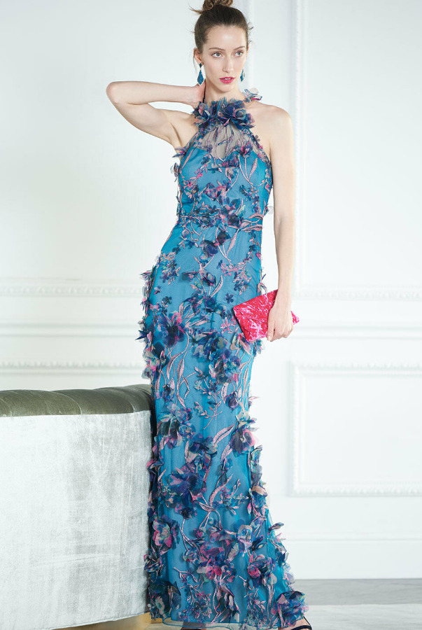 Marchesa 3D Halter Gown Embroidered Turquoise Dress
