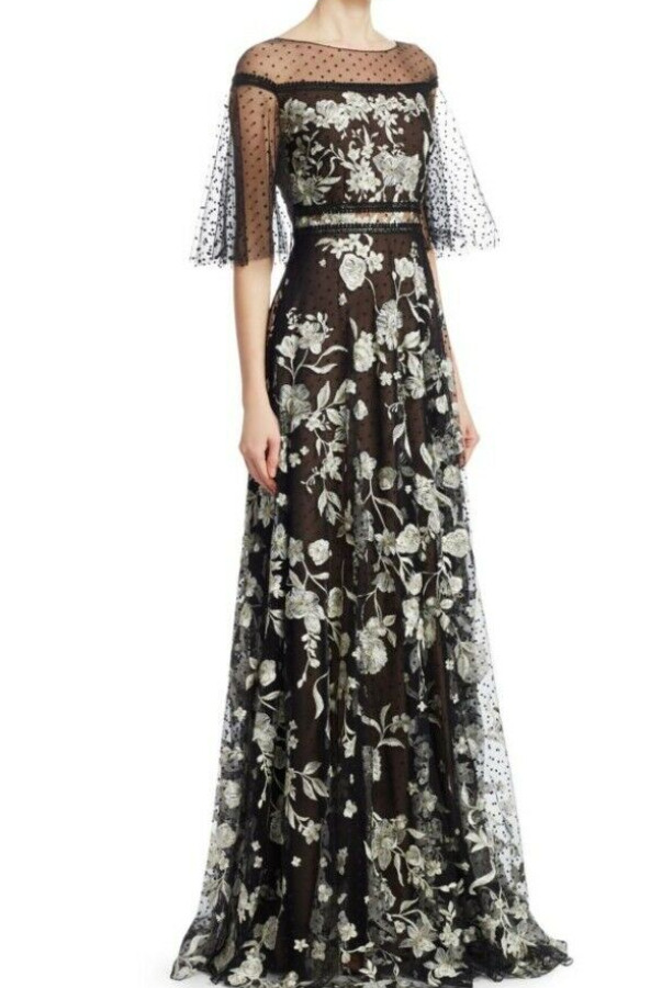 Marchesa Notte Sheer Sleeve Gold Embroidered Gown Black Dress