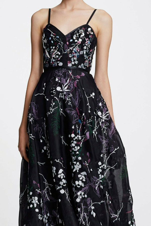 Marchesa V Neck Organza Beaded Embroidered Gown Dress Black