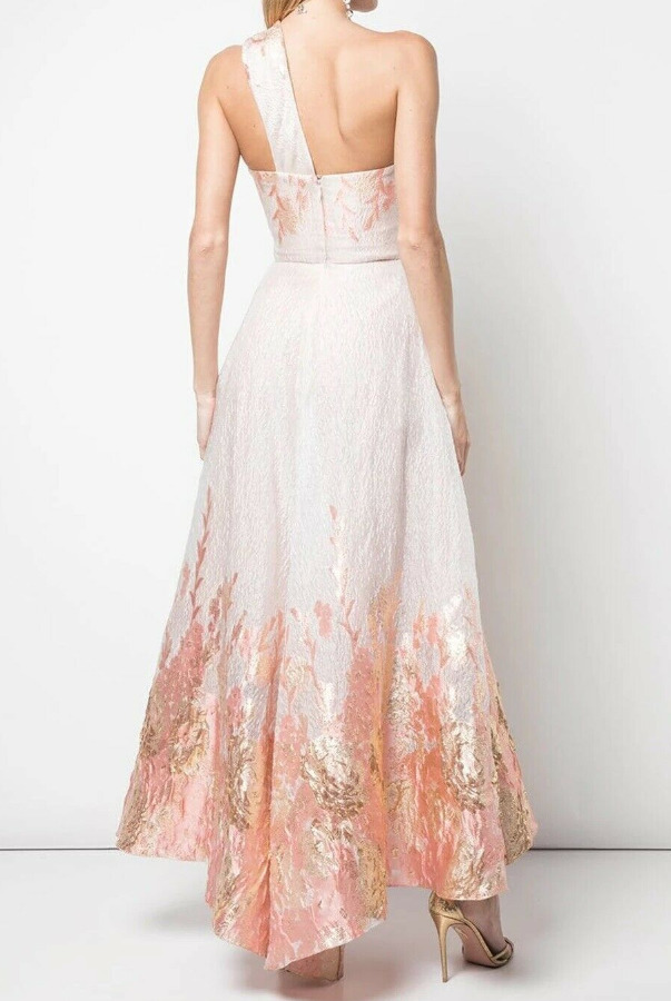 Marchesa Notte One Shoulder Fils Coupe Blush High Low Pink Dress