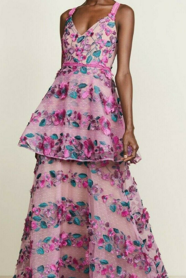 Marchesa Notte Floral Embroidered Tiered Gown Fringe Pink Lace