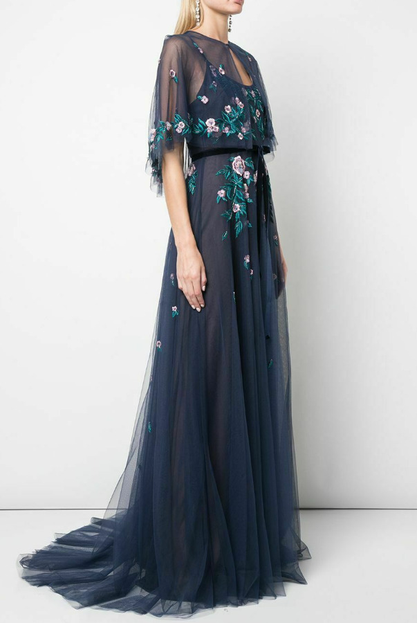 Marchesa Embroidered Tulle Navy Blue Dress