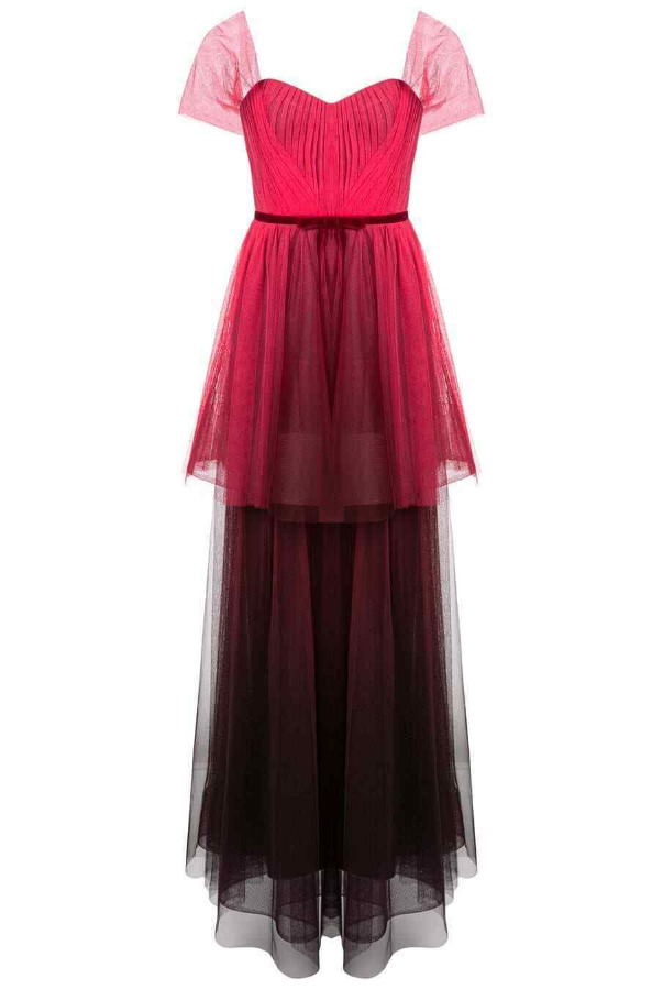 Marchesa Notte Ombre Tulle Tiered Pink Red Velvet Bow Dress