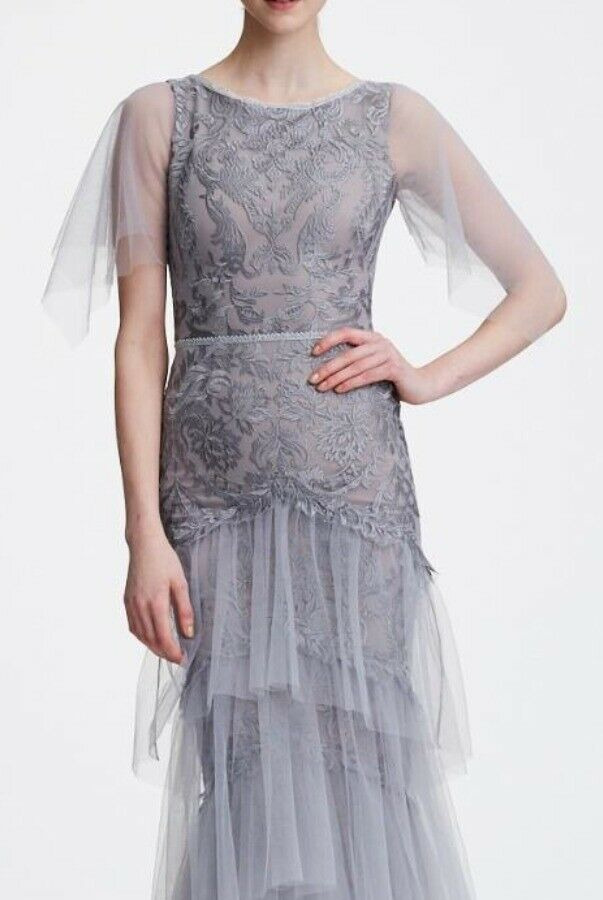 Marchesa Notte Flutter Sleeve Embroidered Lace Silver Grey Dress