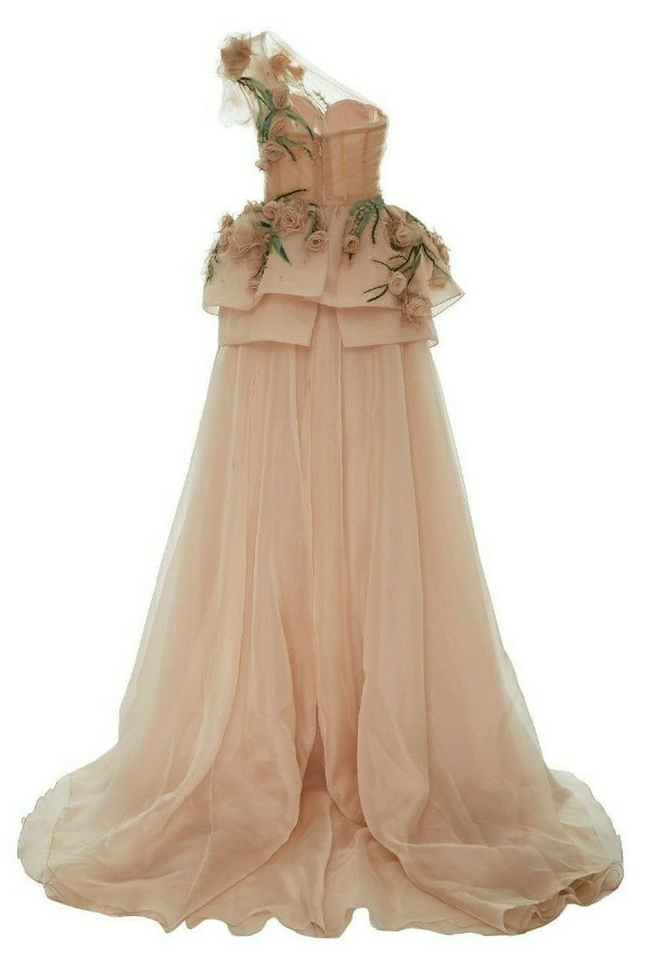Marchesa One Shoulder 3D Flowers Beaded Pink Blush Dress