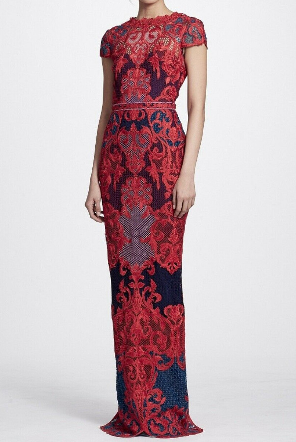 Marchesa Short Sleeve Column Gown Red Embroidered Dress
