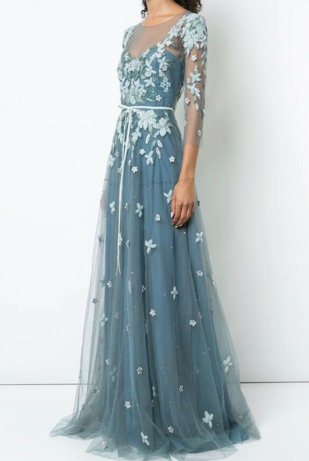 Marchesa Notte Floral Tulle Appliqued Beaded Blue Flowers Dress