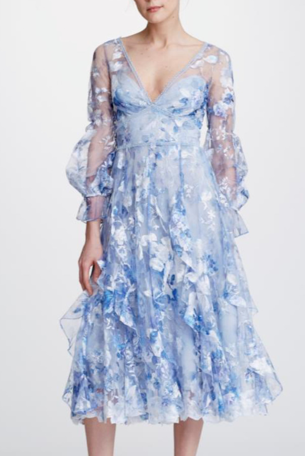 Marchesa Notte Bishop Sleeve Ruffle Blue Embroidery Dress