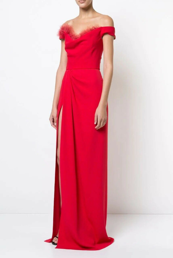 Marchesa Off the Shoulder High Slit Gown Red Maxi Dress