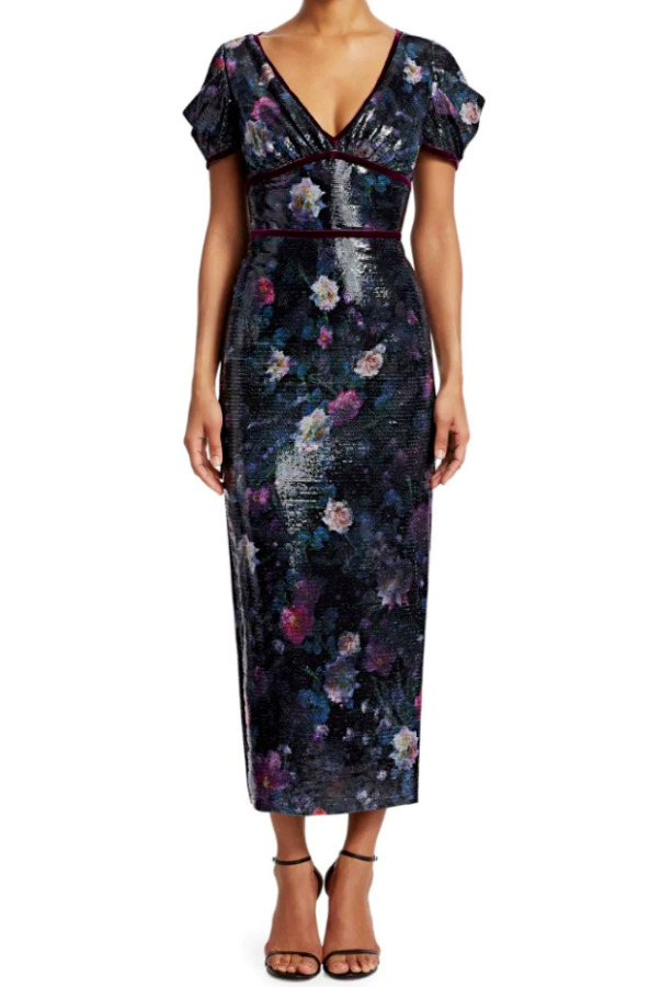 Marchesa Sequin Floral Sheath Velvet Trim Black Dress