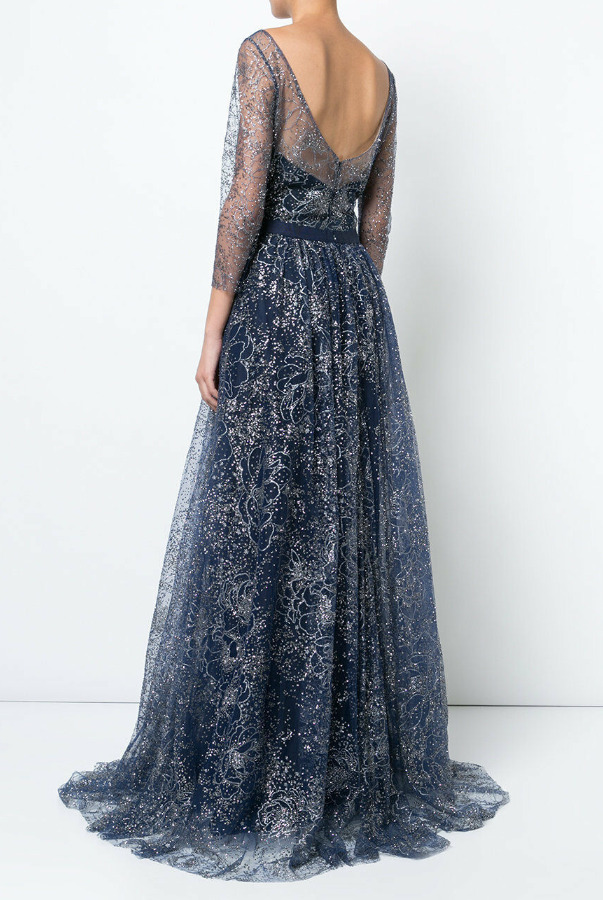 Marchesa Navy Blue Glitter Tulle Embroidered Crystals Dress