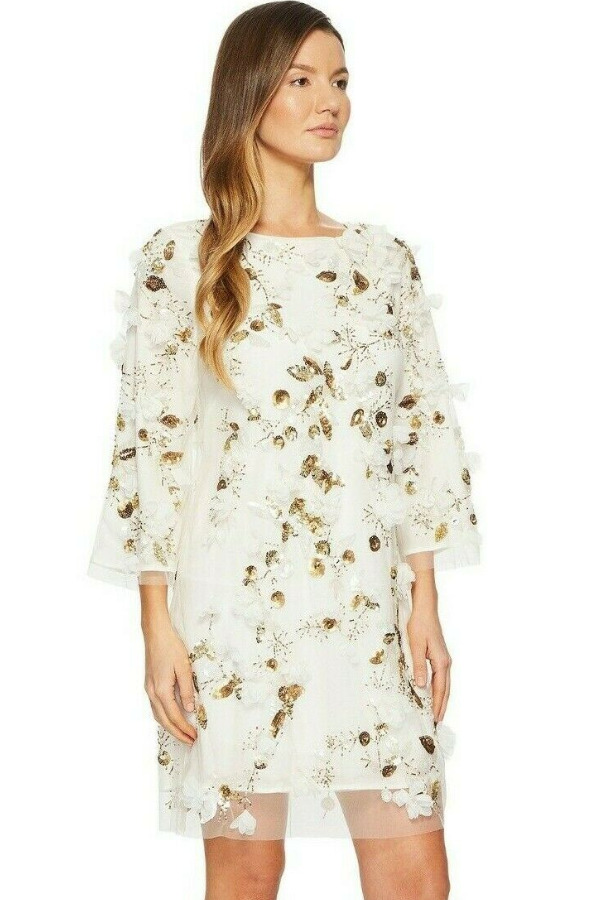 Marchesa Notte Embellished 3D Floral Sequin White Beaded Dress