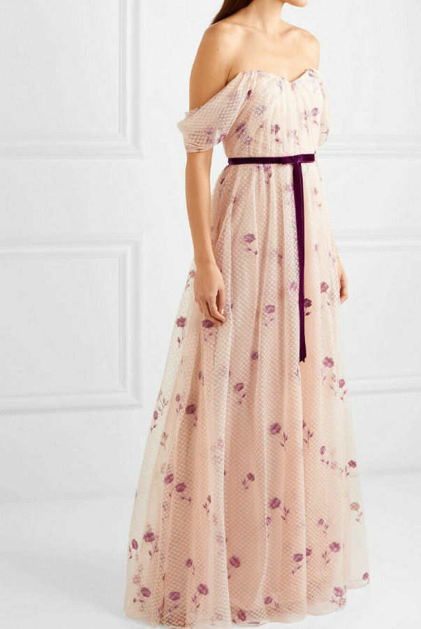 Marchesa Draped Bodice Netted Tulle Embroidered Dress