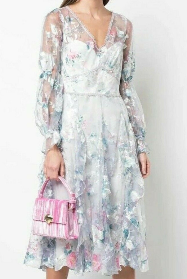 Marchesa Notte Bishop Sleeve Ruffle Ivory Blue Embroidery Dress