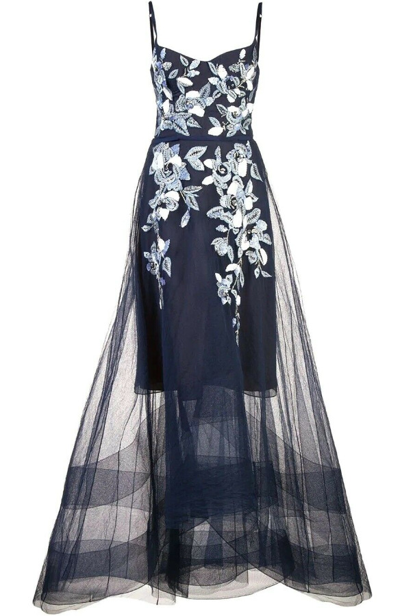 Marchesa V-Neck High Low Beaded Embroidered Navy Dress