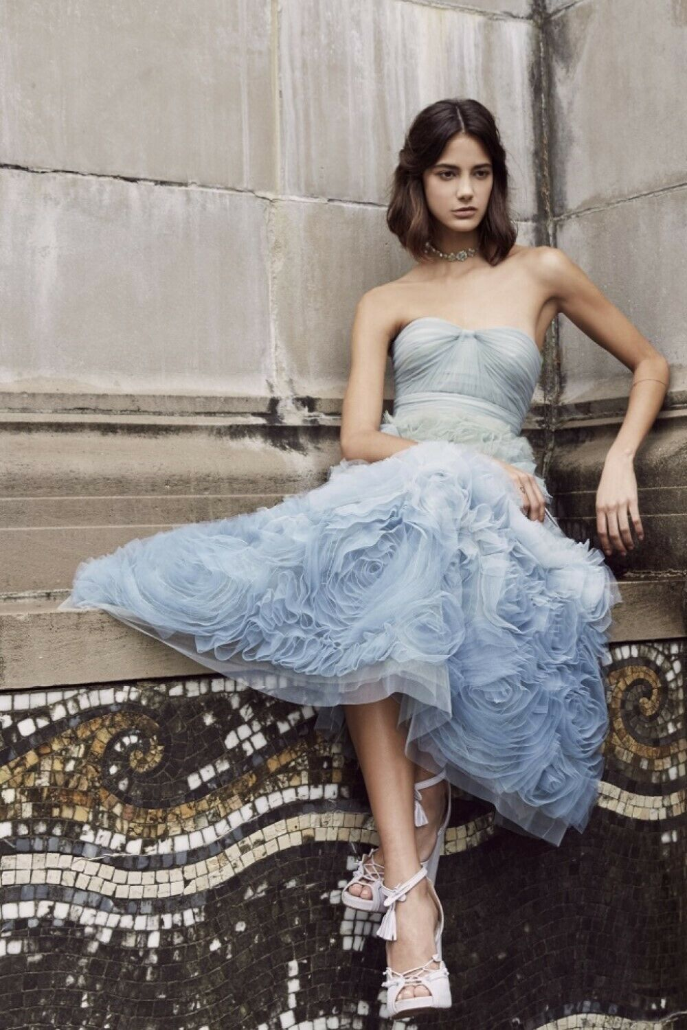 Marchesa Notte Strapless Ombre Tulle Tea Length Midi Blue Dress