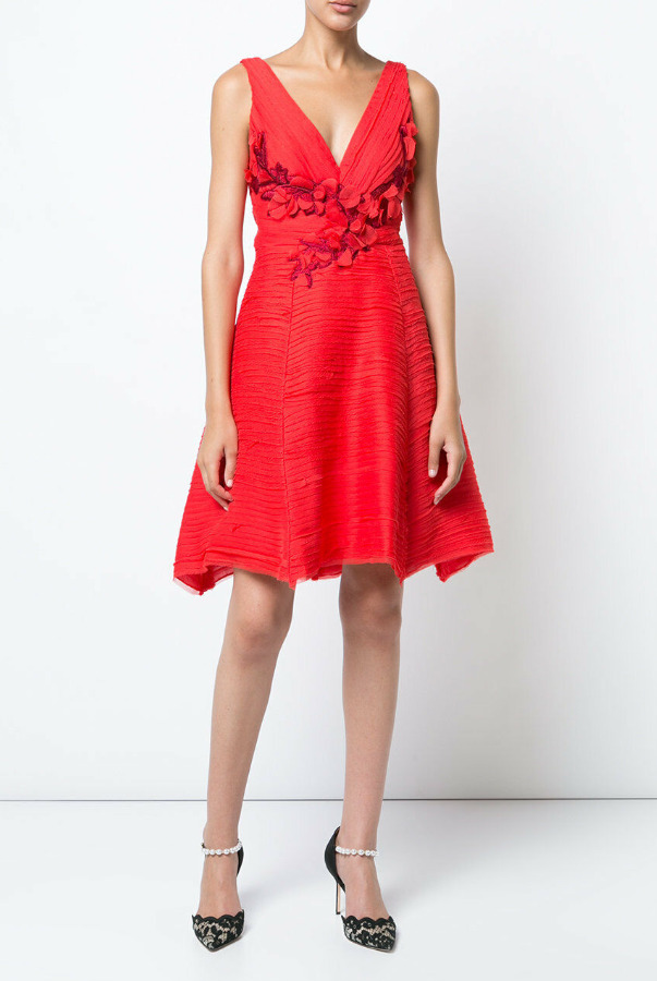 Marchesa Notte Pleated Cocktail Red Dress