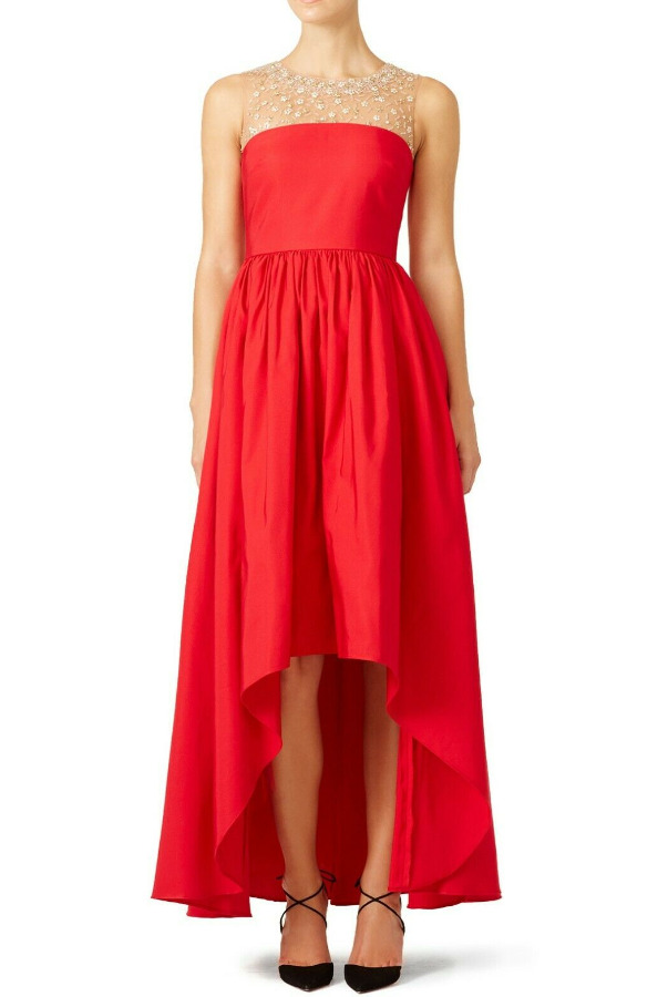 Marchesa Notte High Low Beaded Yoke Red Precision Dress