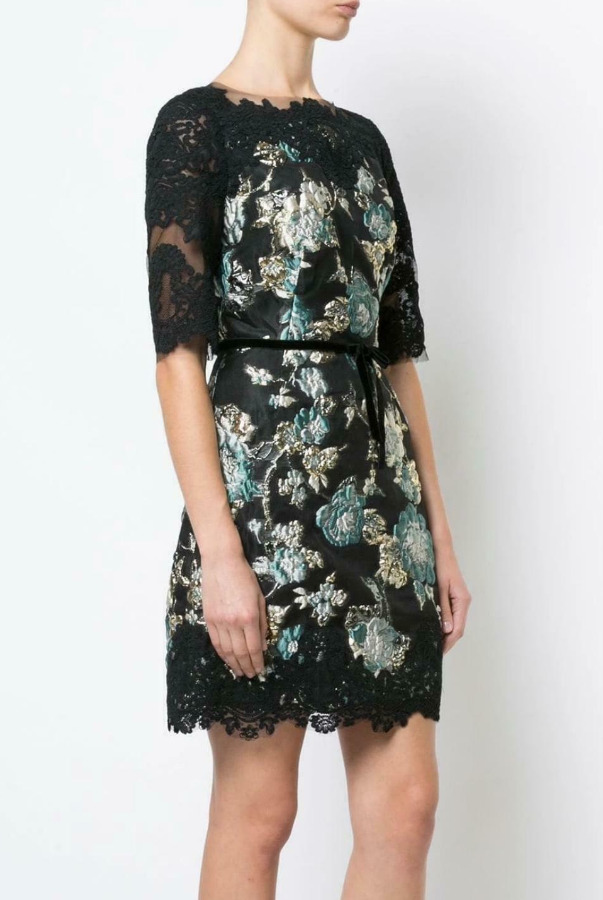 Marchesa Black Gold Teal Brocade Cocktail Lace Dress