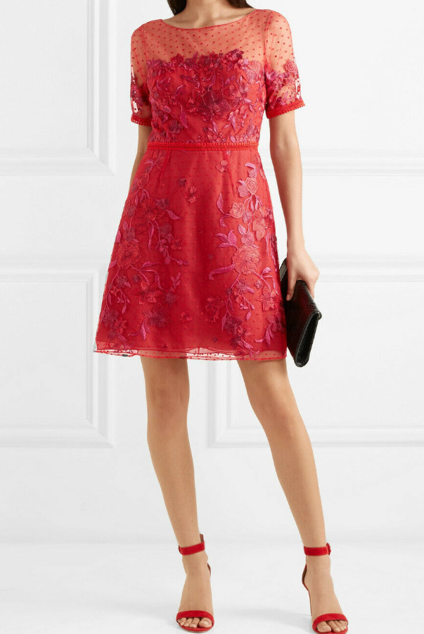 Marchesa Floral Flocked Embroidered Red Pink Mini Dress